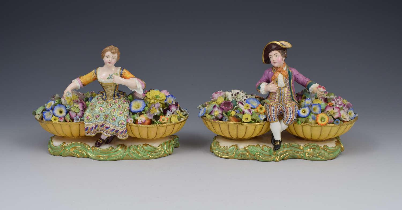 Pair Of Minton Figures Sitting Between Baskets Of Flowers Models 58