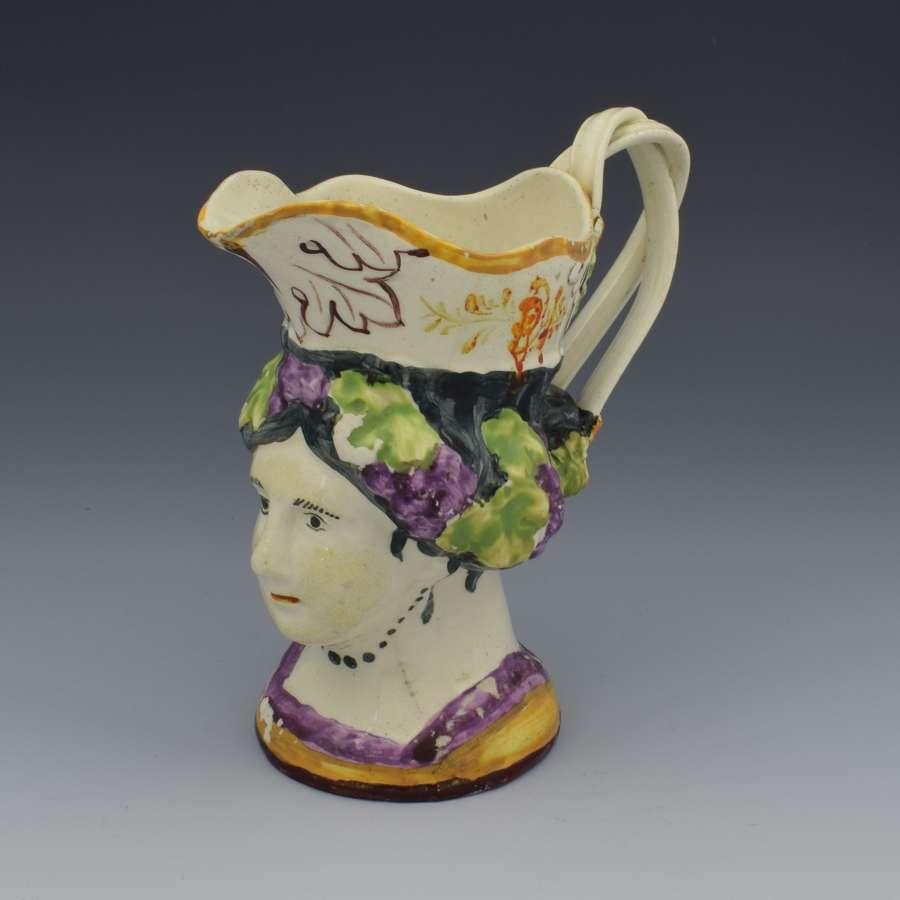 Staffordshire Creamware Pottery Princess Charlotte Mask Jug C.1817