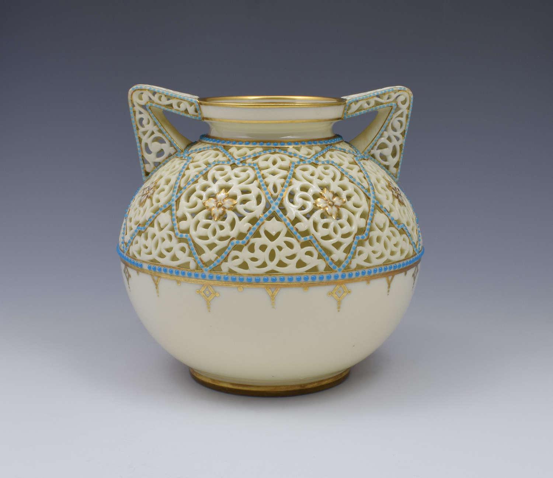 Grainger & Co. Worcester Reticulated Porcelain Vase By Alfred Barry
