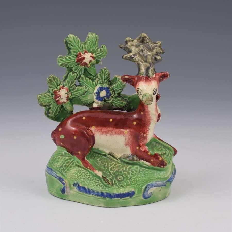 Staffordshire Pearlware Figure Roe Deer Recumbent Stag