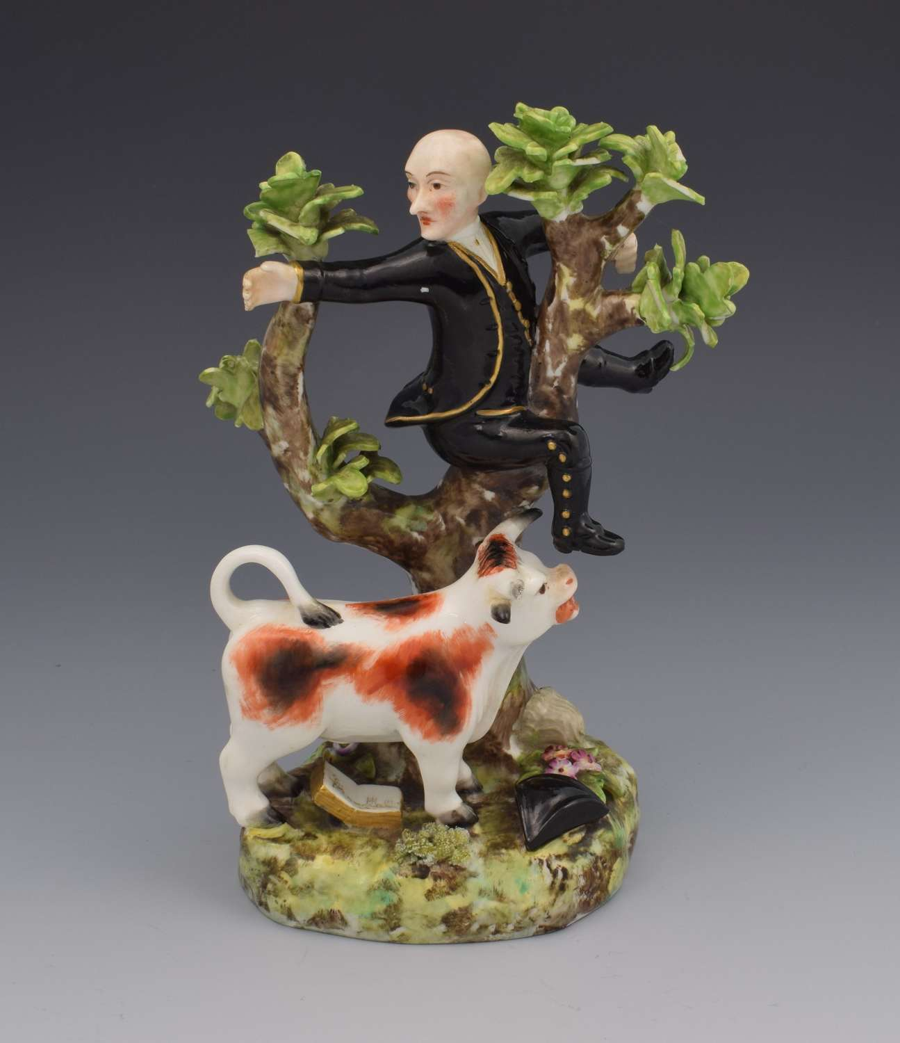 Crown Derby Figure Dr Syntax Pursued By A Bull Puce