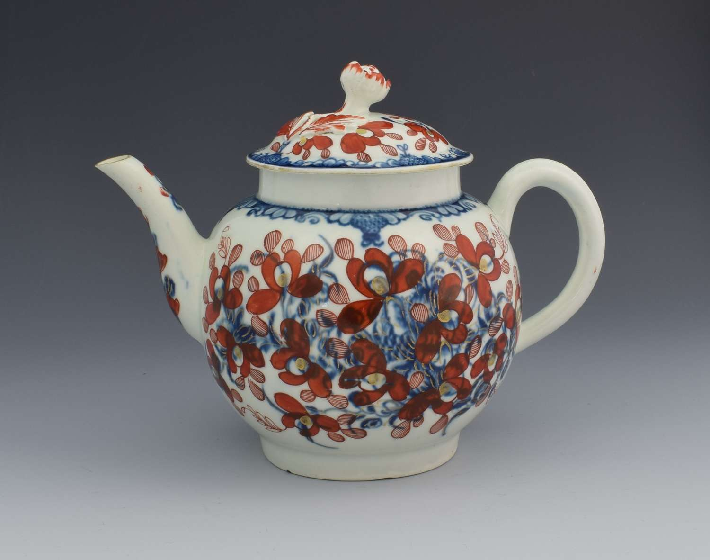 First Period Worcester Globular Teapot Clobbered Mansfield Pattern