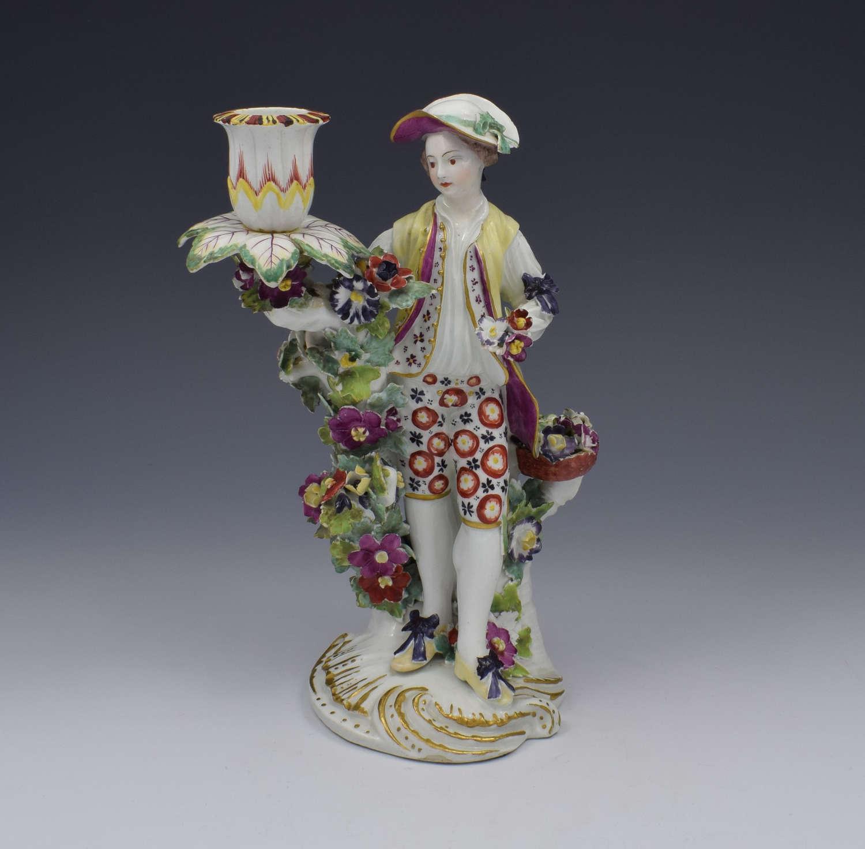 Derby Figural Candlestick Flower Seller Figure C.1765