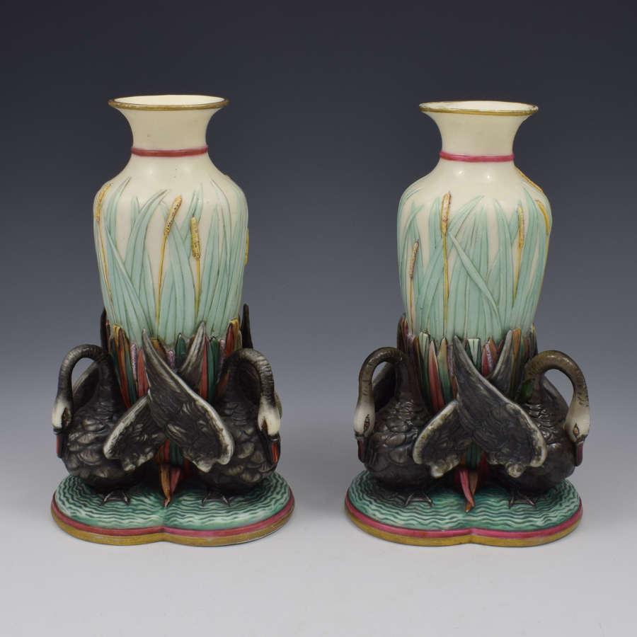 Unusual Pair Victorian Royal Worcester Black Swan Figural Vases