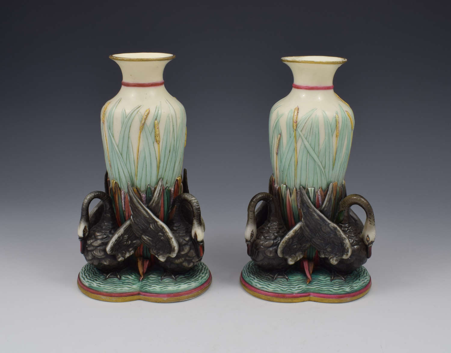 Unusual Pair Victorian Royal Worcester Black Swan Figural Vases