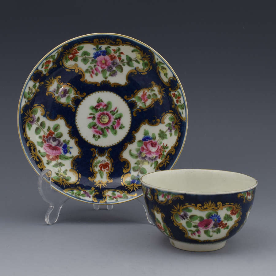 First Period Worcester Scale Blue Tea Bowl & Saucer C.1770