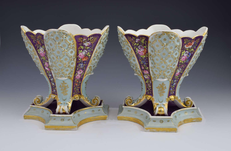 Pair French Paris Jacob Petit Quatrefoil Porcelain Vases On Stands