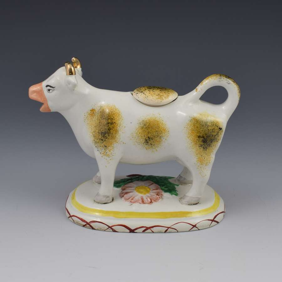 Early Staffordshire Pottery Spongeware Cow Creamer