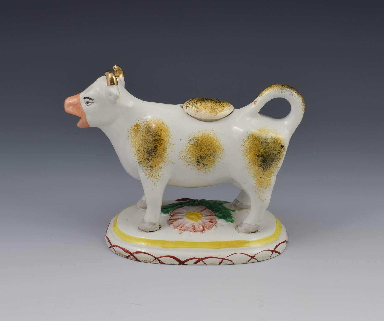 Early Staffordshire Pottery Spongeware Cow Creamer