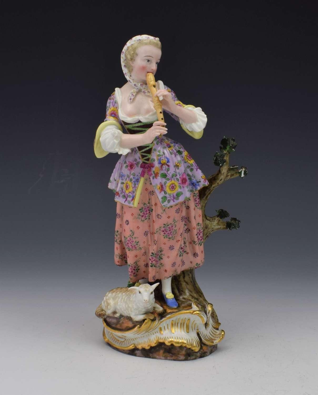 Stunning 19th Century Meissen Figure Shepherdess With Lamb