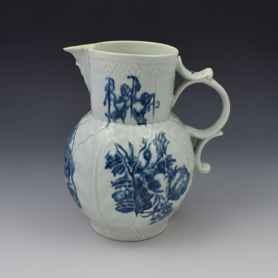 First Period Worcester Cabbage Mask Jug Natural Sprays C.1770