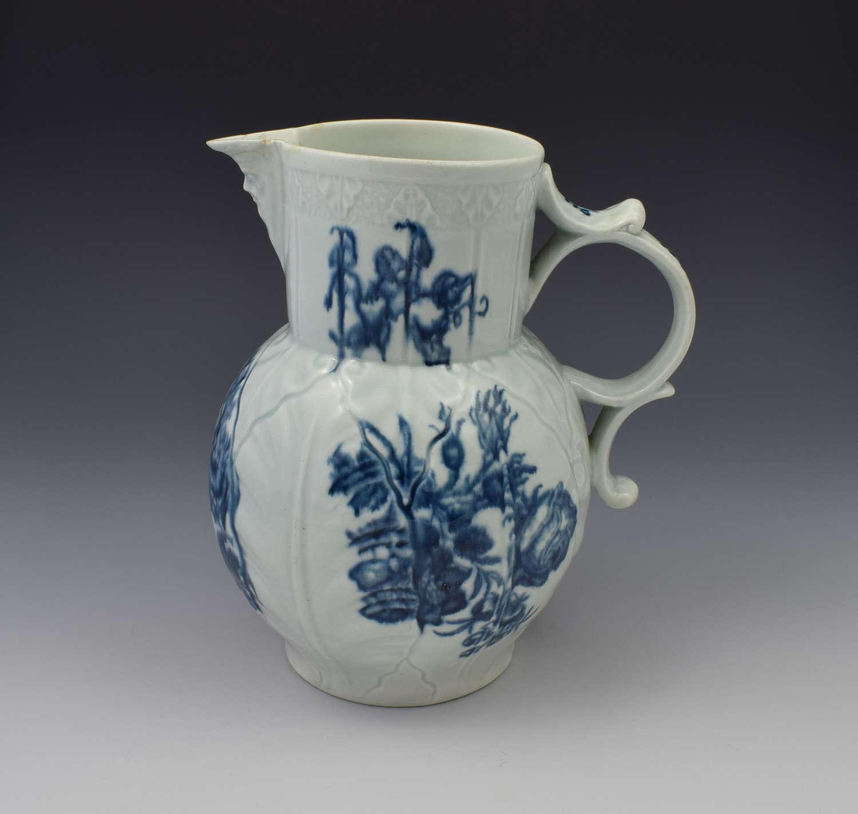 First Period Worcester Cabbage Mask Jug Natural Sprays C.1770