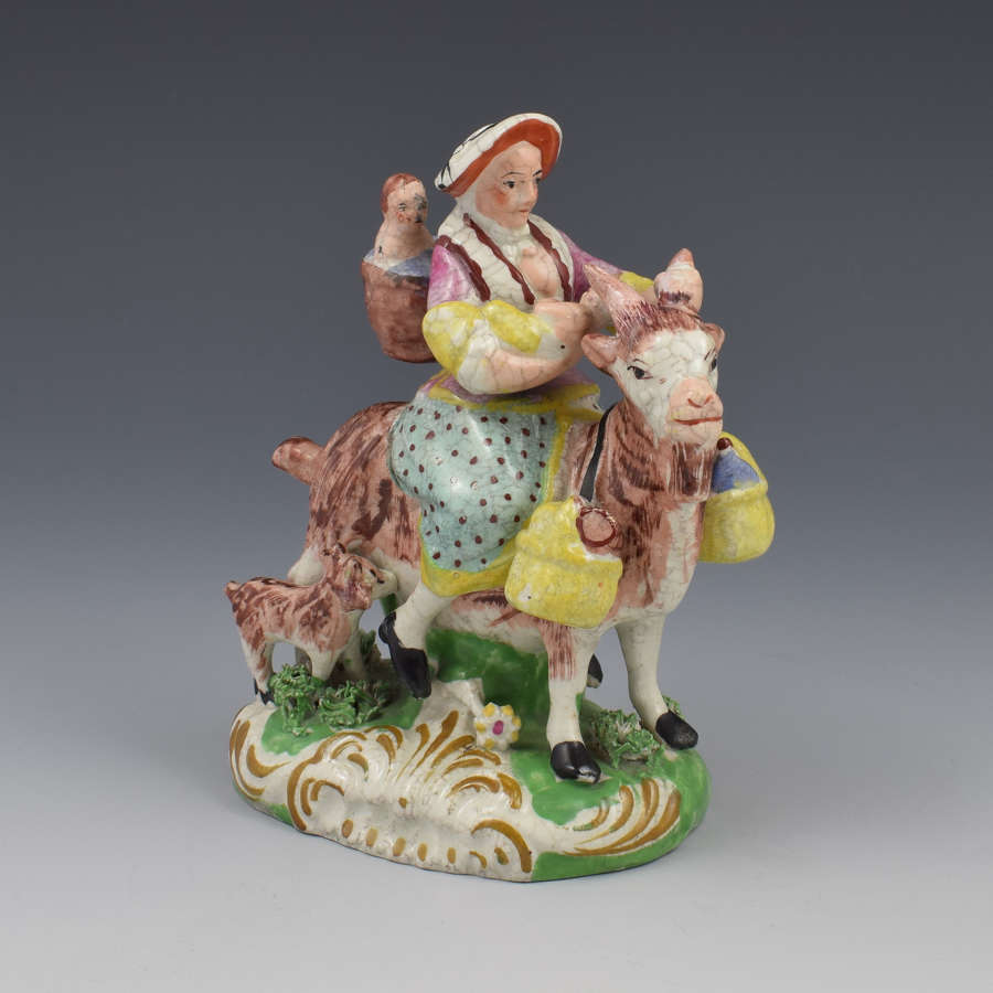 Staffordshire Figure Welch Tailor's Wife Riding Goat
