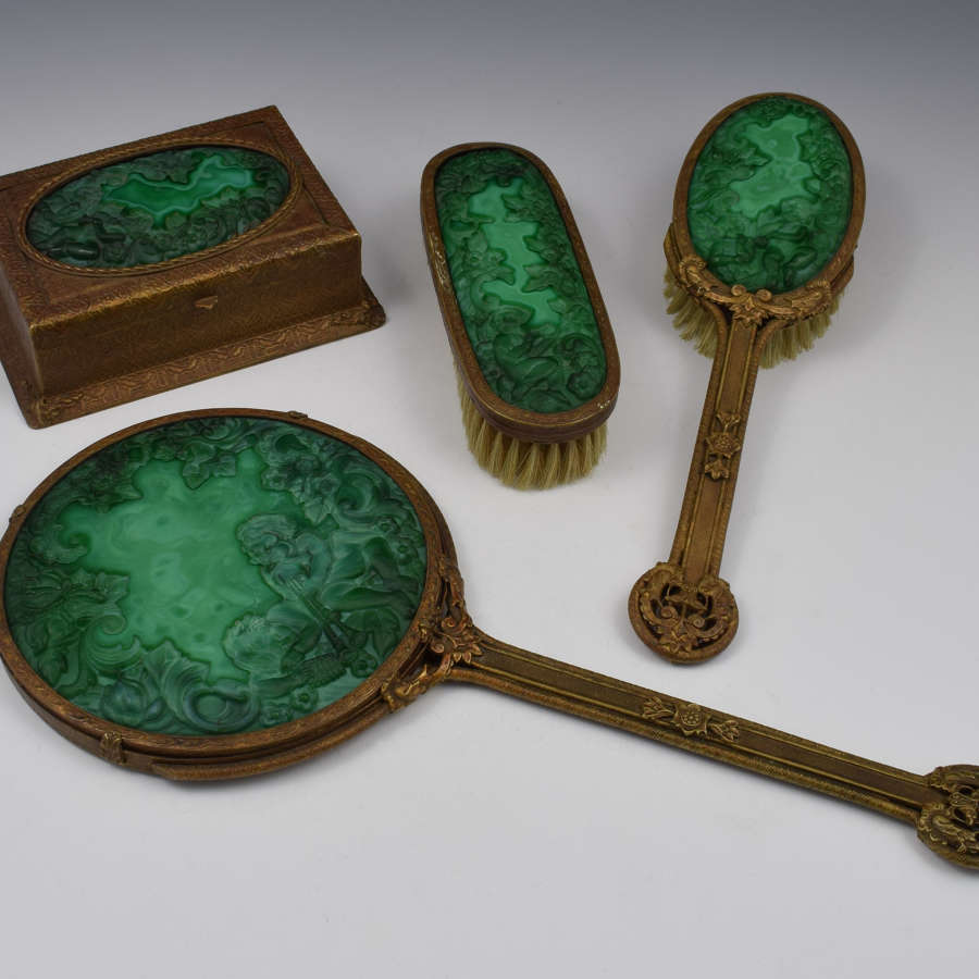 Art Deco Czech Malachite Glass 4 Piece Dressing Set Hoffman-Schlevogt