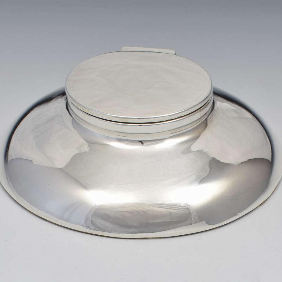 Slim Silver Art Deco Capstan Inkwell Charles Boyton & Sons