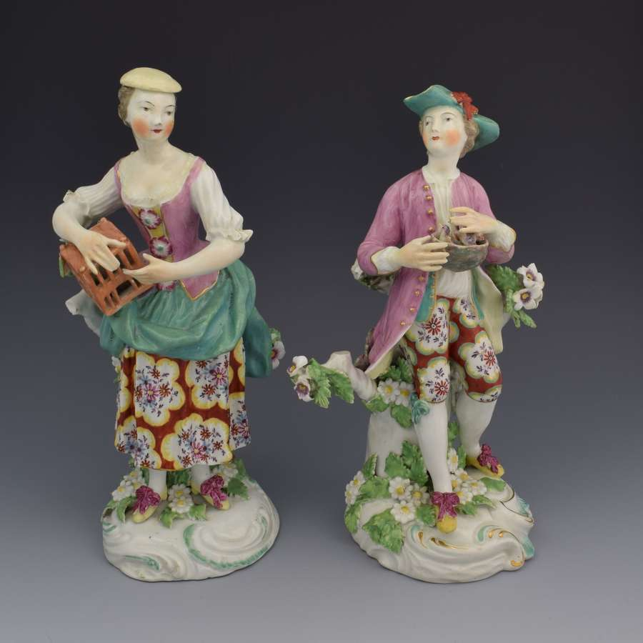 Pair 18thc Derby Figures Liberty & Matrimony Patch Period C.1765