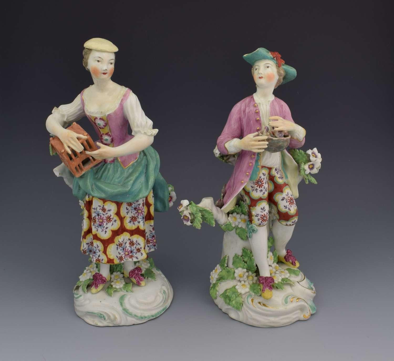 Pair 18thc Derby Figures Liberty & Matrimony Patch Period C.1765
