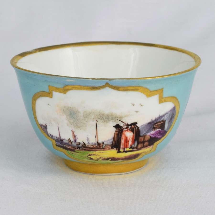 18th Century Meissen Tea Bowl C.1730 Kauffahrtei Harbour Scenes