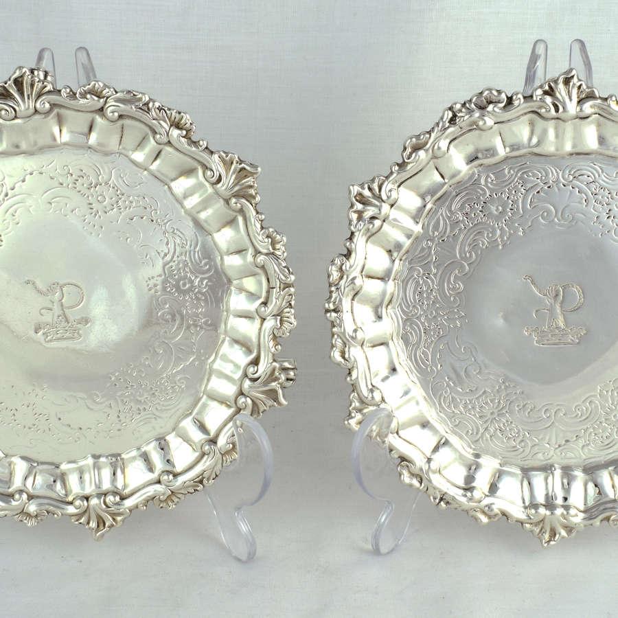 Pair George II Silver Waiters Gabriel Sleath 1746 Salvers
