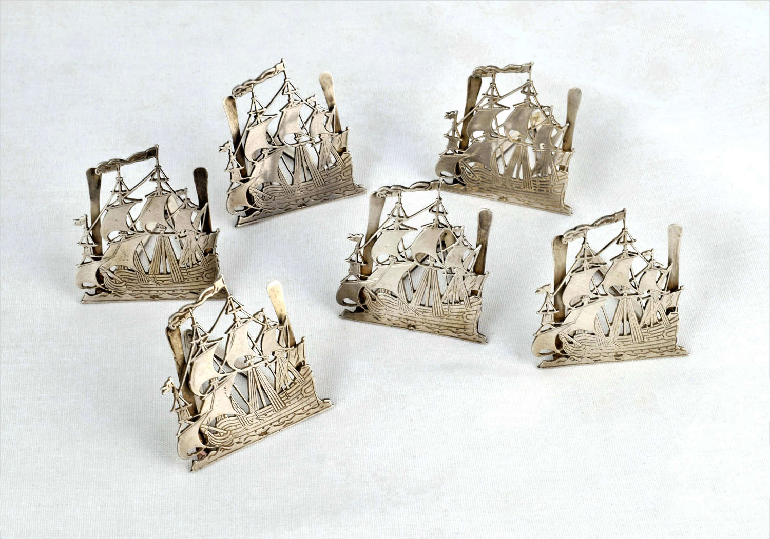Set 6 Novelty Dutch Silver Menu Place Card Holders Galleon Ships
