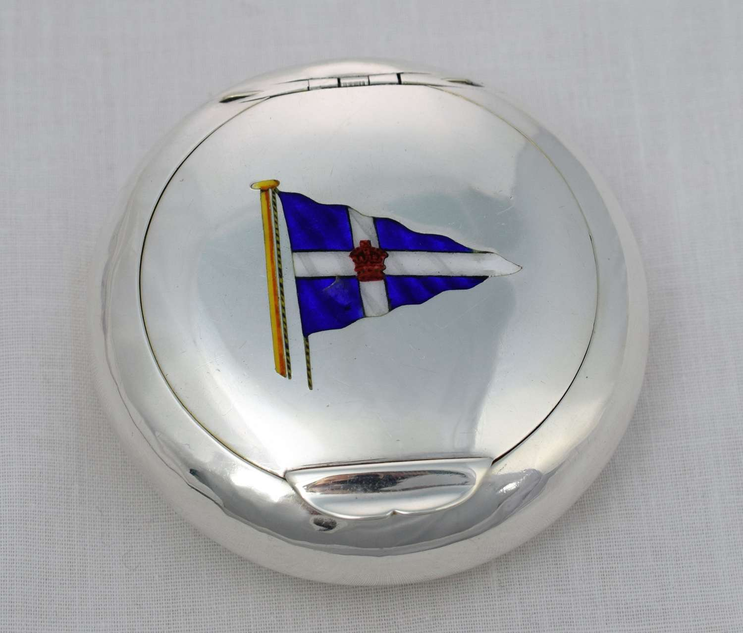 Edwardian Silver & Enamel Royal Thames Yacht Club Tobacco Pebble Box