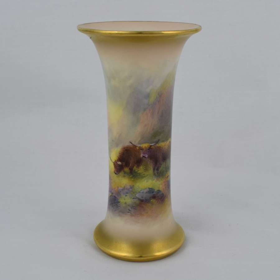 Royal Worcester Trumpet Vase By Harry Stinton Highland Cattle