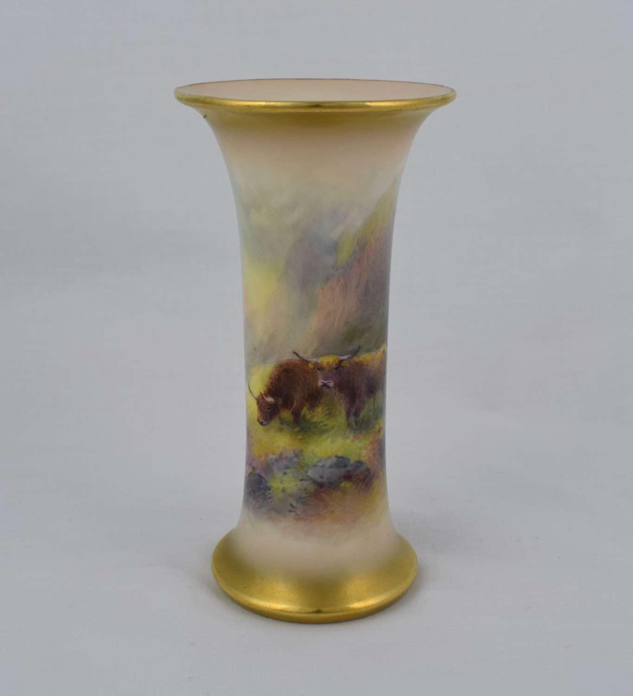 Royal Worcester Trumpet Vase By Harry Stinton Highland Cattle