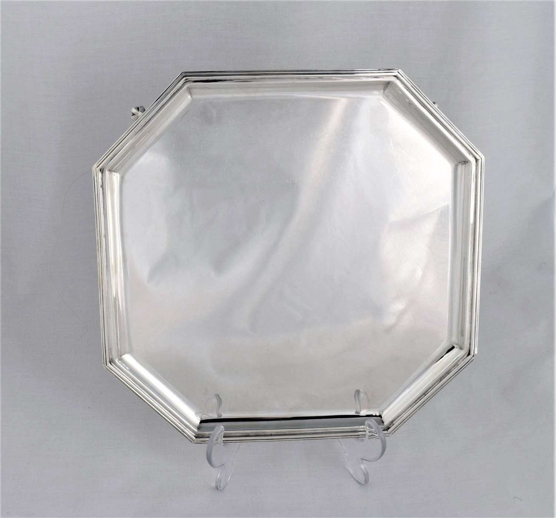 Large Art Deco Octagonal Silver Salver Goldsmiths & Silversmiths Co.