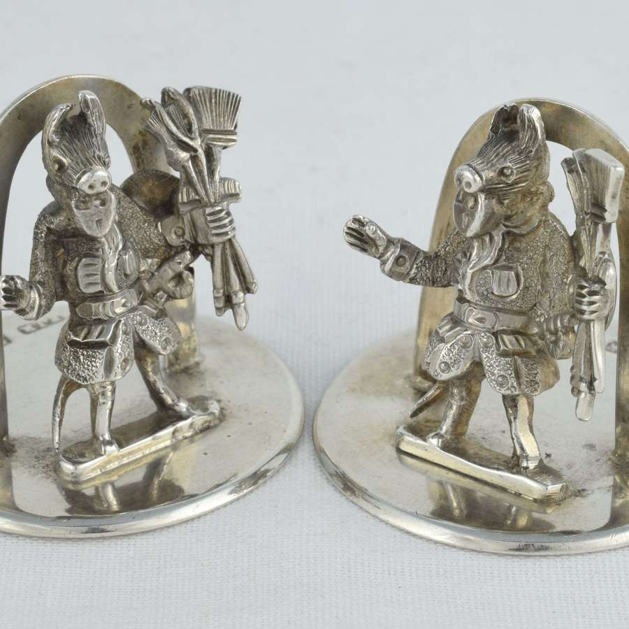 Pair Edwardian Silver Trusty Servant Menu Holders Winchester College