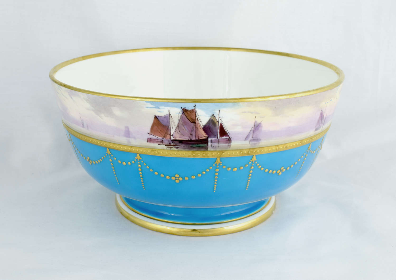 Minton Celeste Bleu Bowl Seascape James Edwin Dean