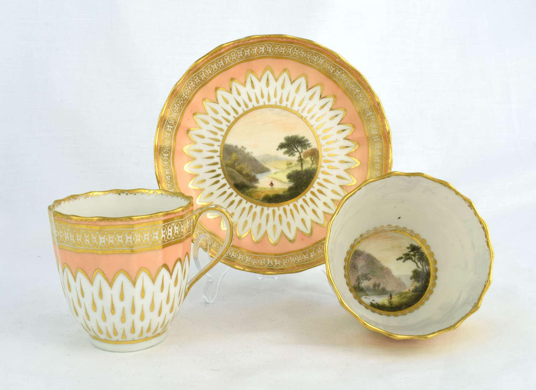 Derby Porcelain Trio Zachariah Boreman Landscape Scene Salmon 118
