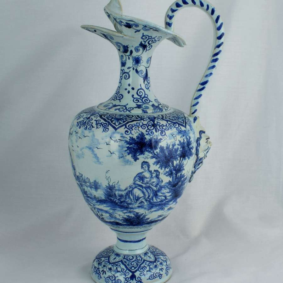 Large 18th Century Dutch Delft Ewer Hugo Brouwer Split Spout