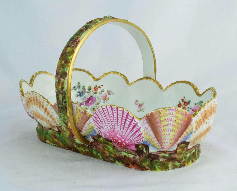 Spode Porcelain Scallop Shell Basket Regency C.1820