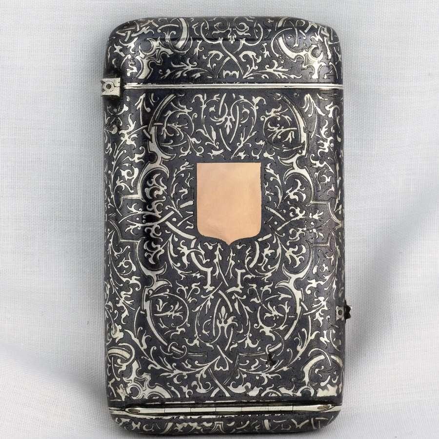 French Silver & Niello Cigarette & Vesta Case Concealed Tinder Cord