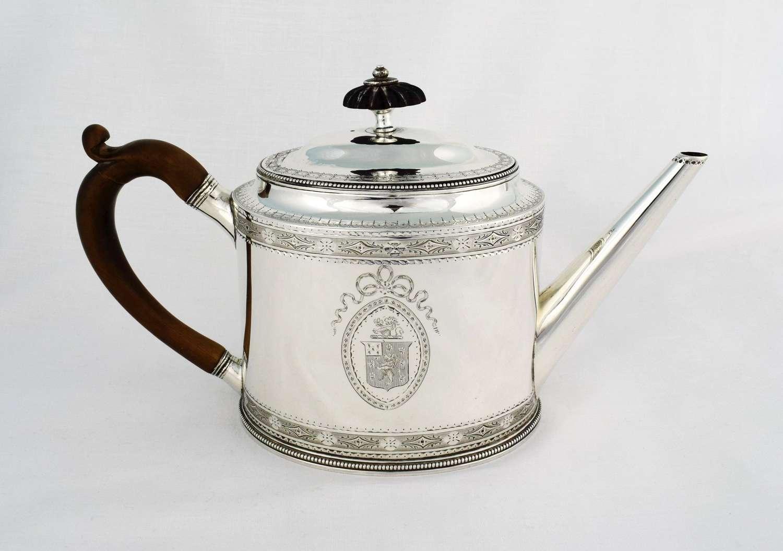 George III Hester Bateman Silver Oval Teapot