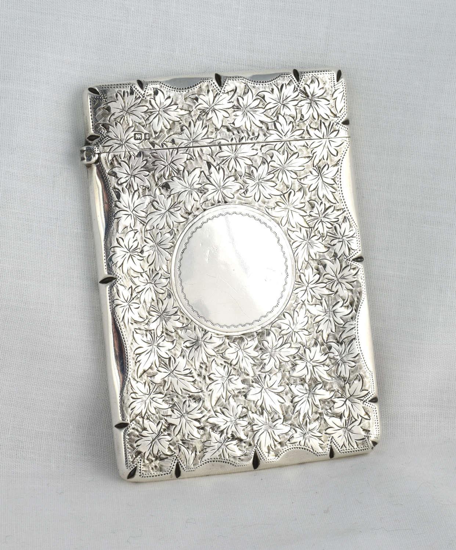 Edwardian Engraved Silver Card Case Stokes & Ireland Ltd