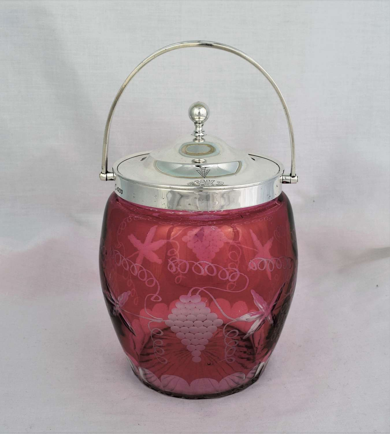 Silver And Cranberry Overlay Cut Glass Biscuit Box Barrel