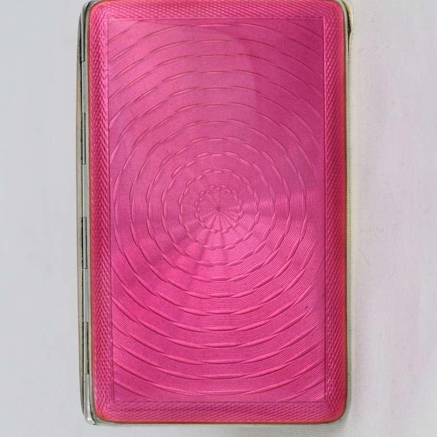 Stunning Art Deco Pink Guilloche Enamel & Silver Cigarette Case