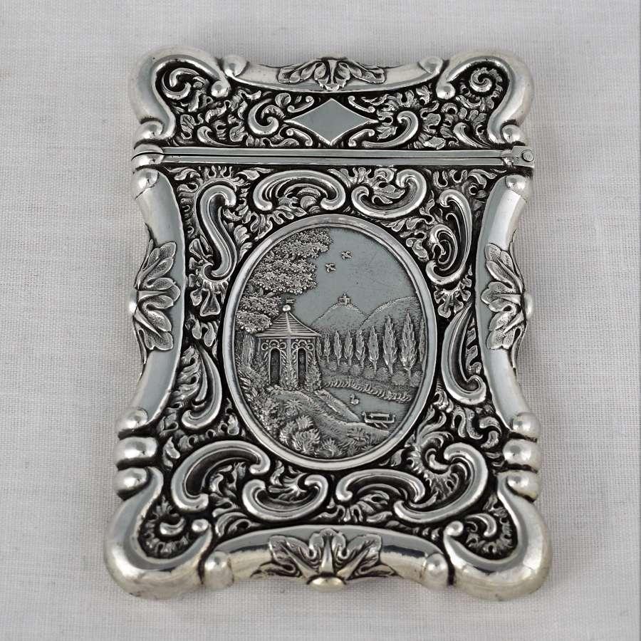 Sterling Silver Castle Top Style Card Case Oriental Scene