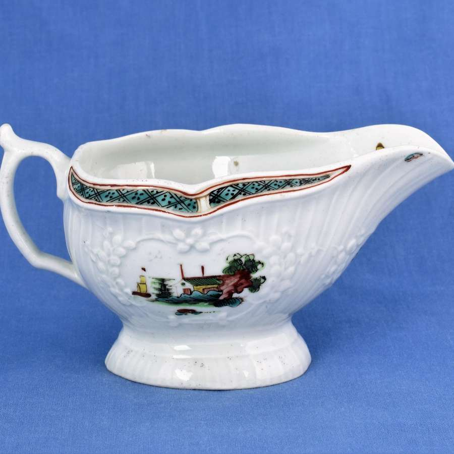 First Period Worcester Small Polychrome Sauceboat C.1756