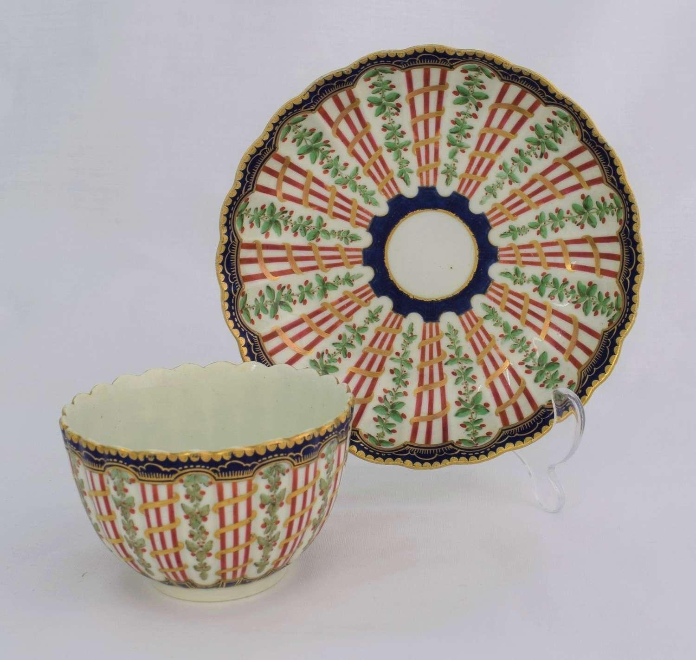 First Period Worcester Hop Trellis Variant Pattern Tea Bowl & Saucer