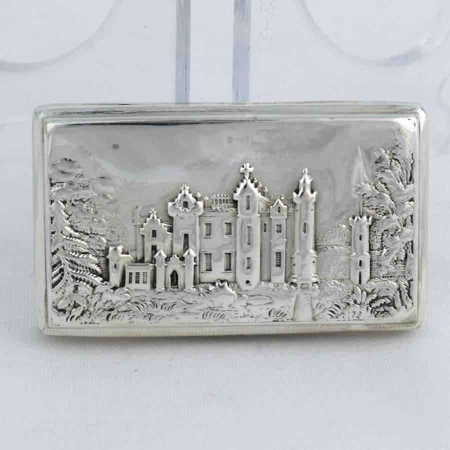 Nathaniel Mills Silver Abbotsford House Castle Top Snuff Box