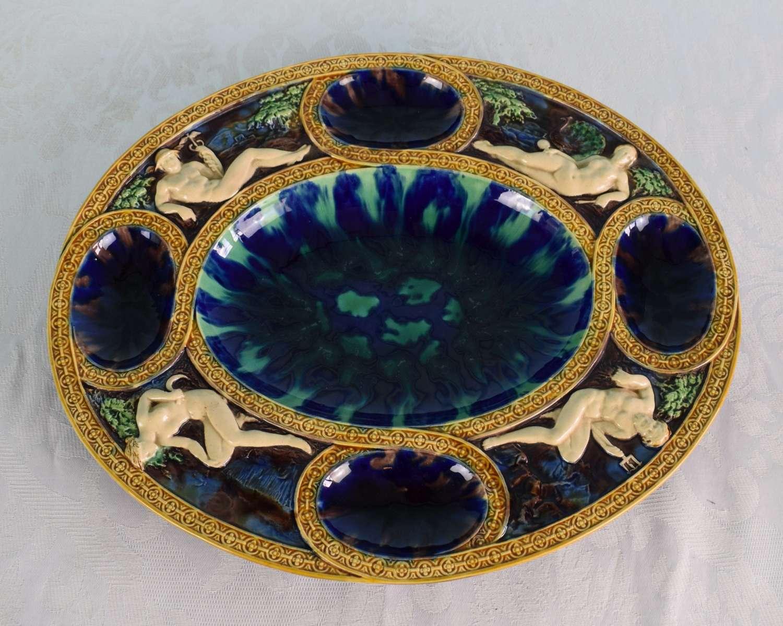 Large Minton Majolica Palissy Renaissance Platter Roman Gods Neptune