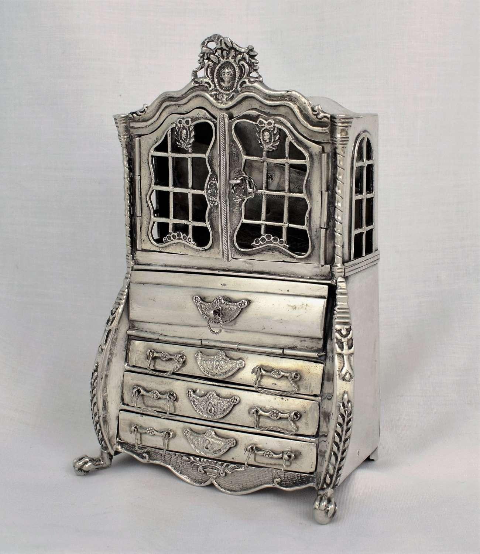 Large Dutch Miniature Silver Bureau Bookcase Secretary Cabinet