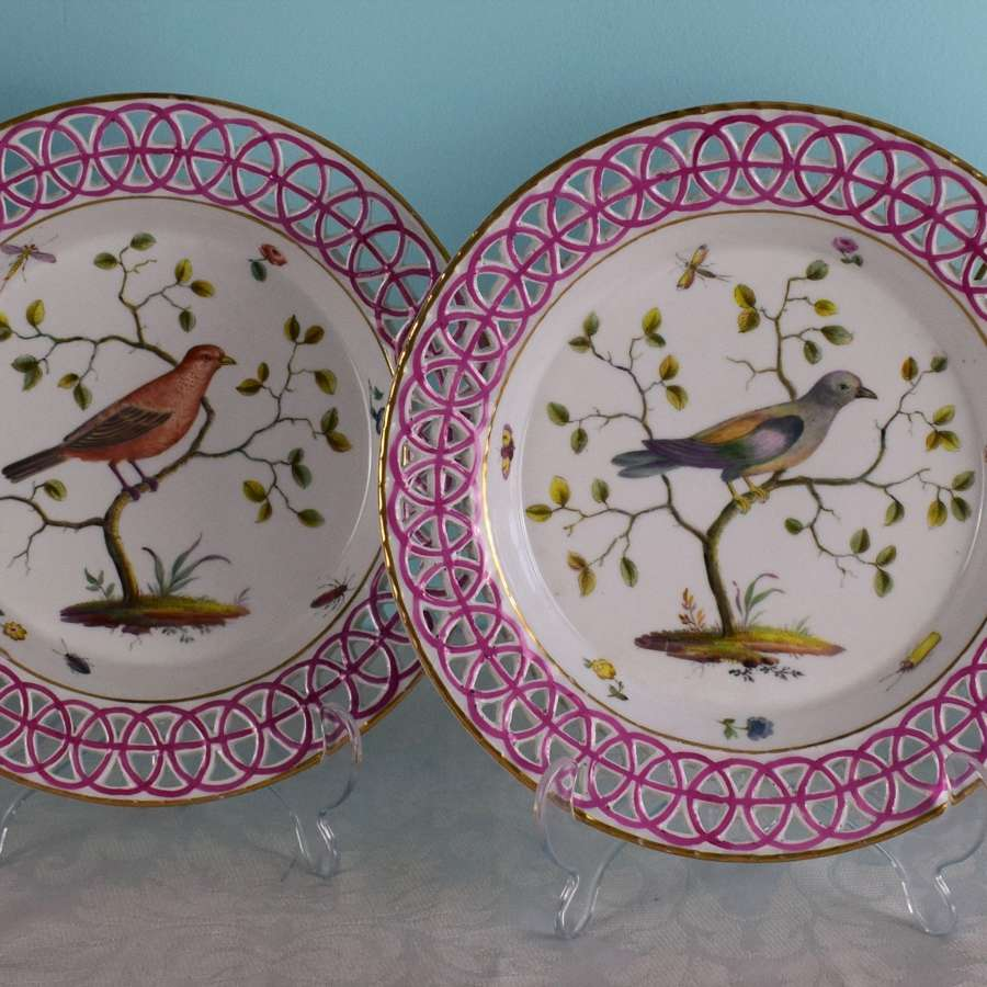 Rare Set 4 18th Century Limbach Ornithological Bird Dessert Plates