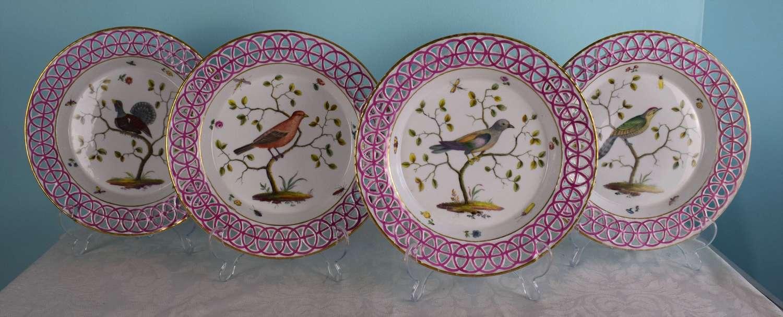 Rare Set 4 18th Century Limbach Ornithological Bird Dessert Plates