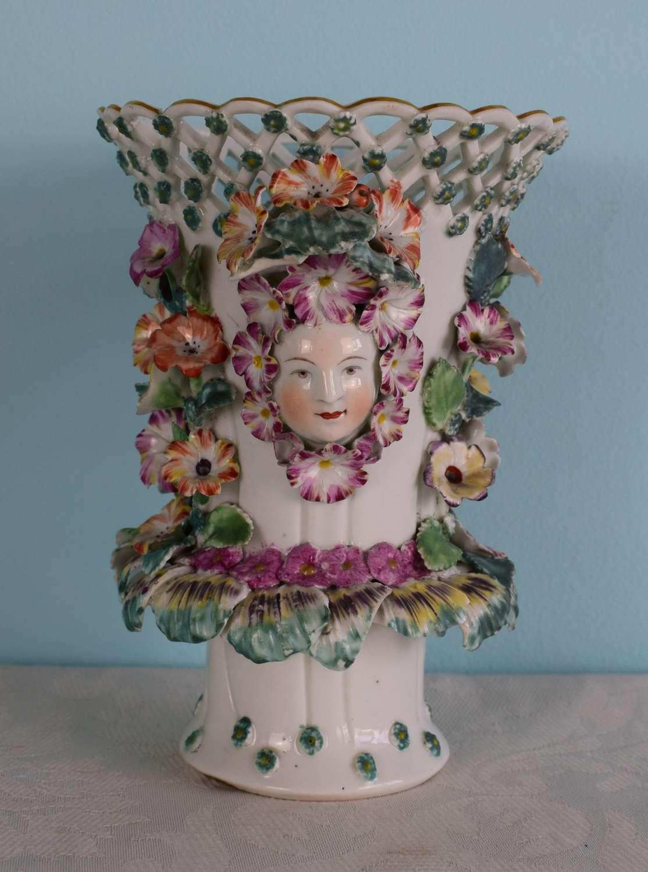 Early Derby Porcelain Flower Encrusted Mask Trumpet Frill Vase C.1760