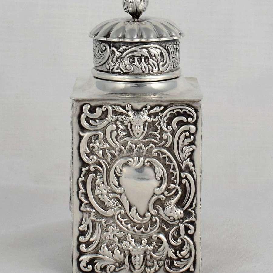 Art Nouveau Square Embossed Silver Green Man Tea Canister Comyns