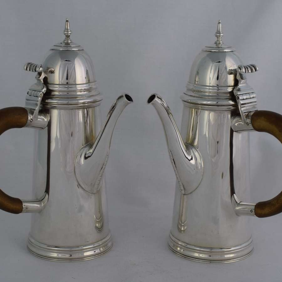 George V Pair Of Silver Cafe Au Lait Pots William Comyns