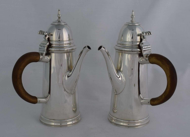 George V Pair Of Silver Cafe Au Lait Pots William Comyns